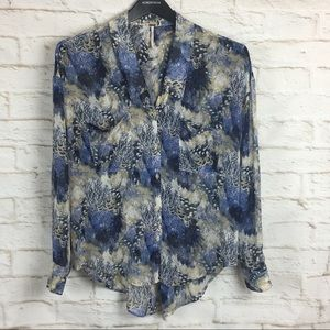 Free People Sheer Blue Button Down Water color S